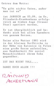 Dankschreiben von Reimund Ackermann